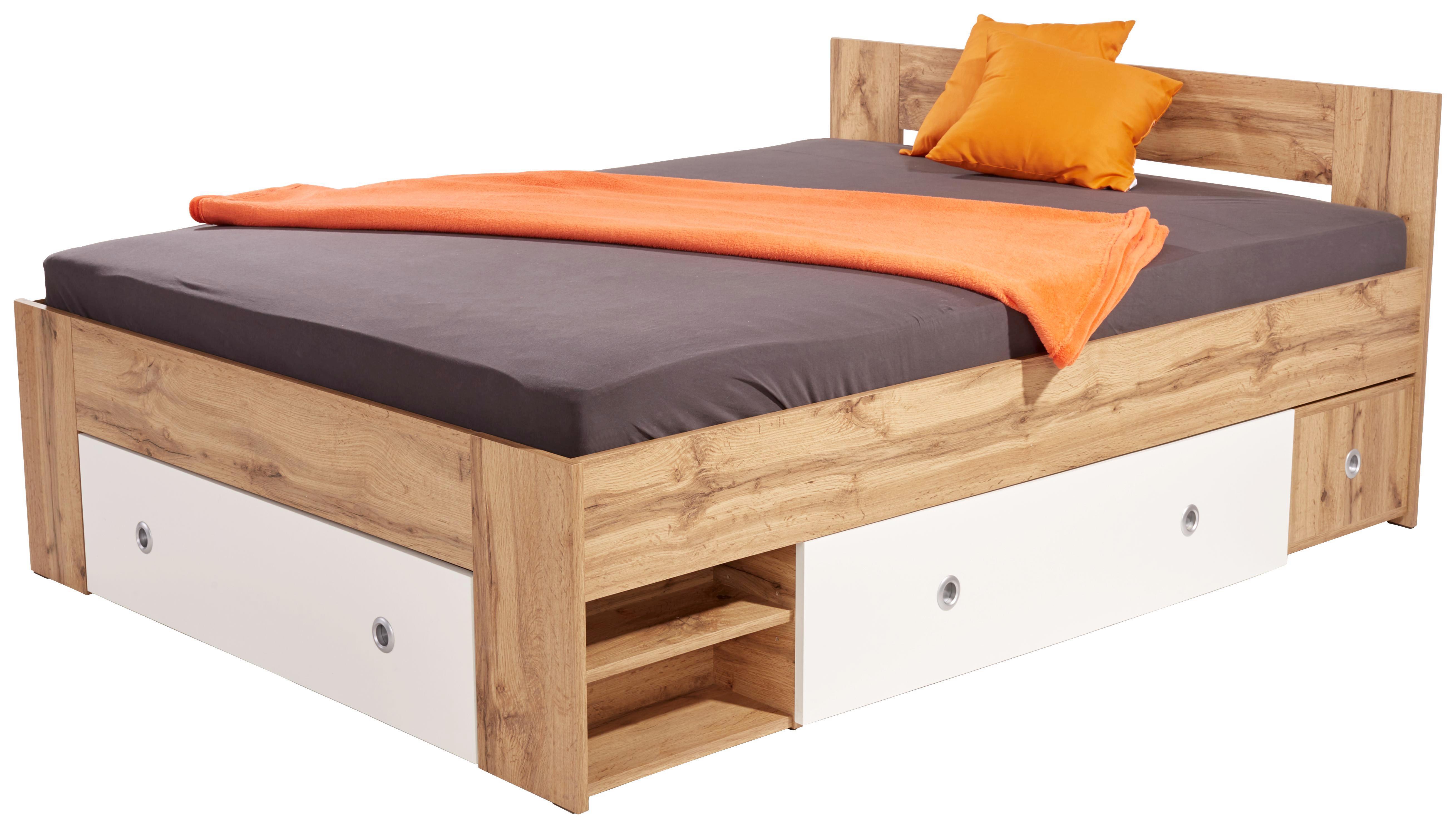 Ágykeret Azurro 140x200cm - Sonoma tölgy/fehér, modern, faanyagok (204/75/145cm)