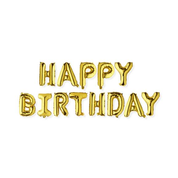 Balon Cu Aer Happy Birthday - auriu, plastic (16,5/22cm) - Modern Living