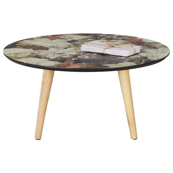 Couchtisch mit Blumenprint - Multicolor/Naturfarben, ROMANTIK / LANDHAUS, Holz/Holzwerkstoff (70/33/70cm) - Zandiara