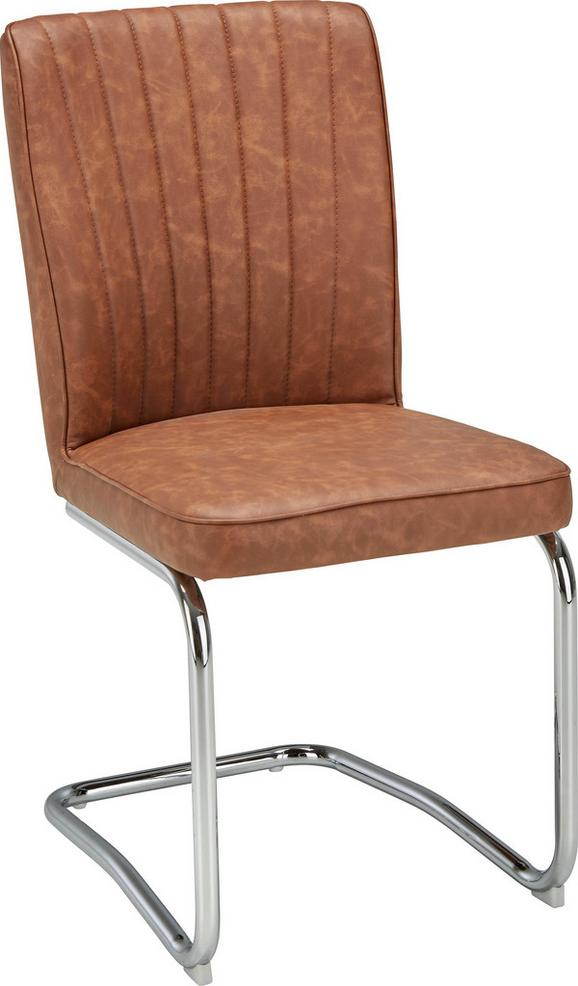 Schwingstuhl in Braun/chromfarben - Chromfarben/Grau, MODERN, Textil/Metall (46,5/93/60cm) - Modern Living