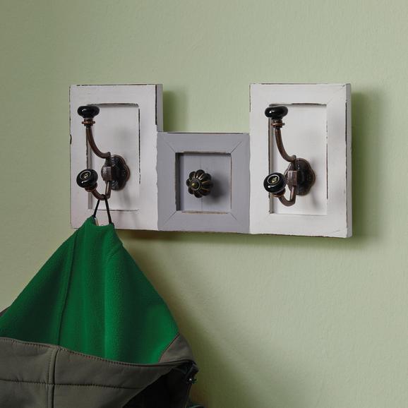 Garderobenpaneel Grau/Weiß 'Ivy' - Weiß/Grau, MODERN, Holz/Metall (36/18/11cm) - Bessagi Home