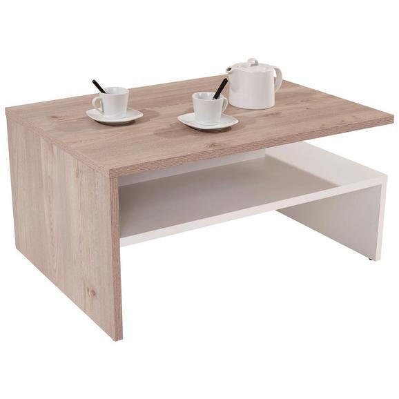 Măsuță De Canapea Laura - alb/culoare lemn stejar, Modern, compozit lemnos (90/42/60cm)