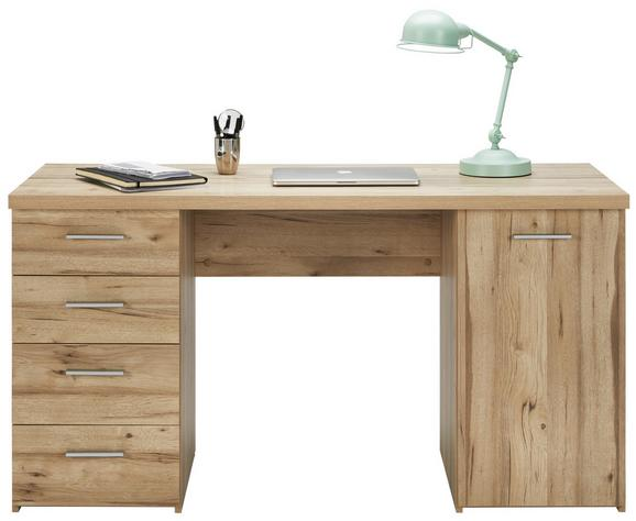 Schreibtisch Eichefarben - Eichefarben/Alufarben, MODERN, Holzwerkstoff/Kunststoff (145/76,3/60cm) - Mömax modern living