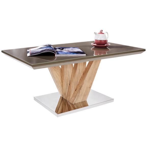 Măsuţă Boston - nămol/culoare inox, Modern, sticlă/compozit lemnos (110/45/60cm)