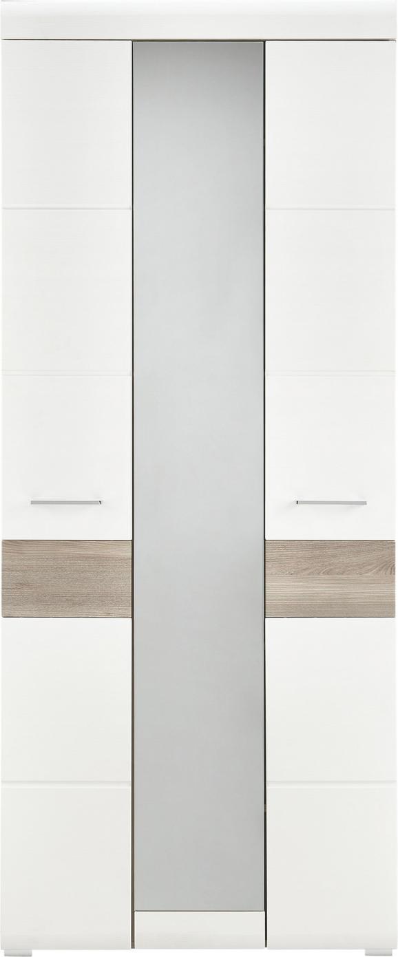 Garderobenschrank Silbereiche/Weiß - Chromfarben/Weiß, MODERN, Holz/Holzwerkstoff (85/200/40cm) - Premium Living