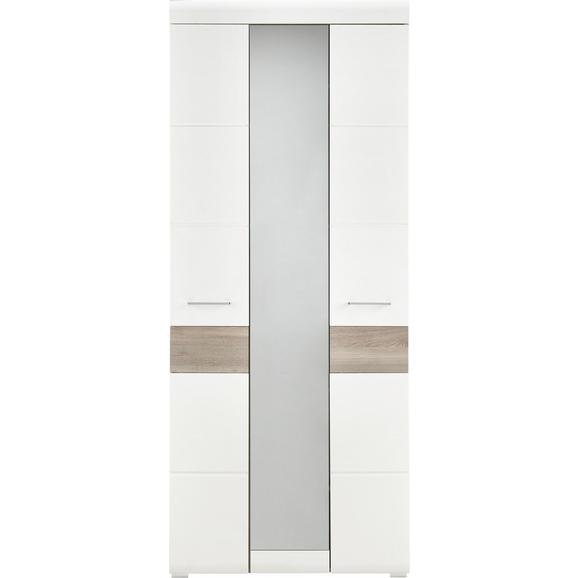 Garderobna Omara Funny - bela/krom, Moderno, kovina/leseni material (85/200/40cm) - Premium Living