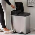 Treteimer Trash ca. 40l - Silberfarben/Schwarz, MODERN, Kunststoff/Metall (46,3/37,1/52,6cm) - Premium Living