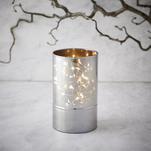 Windlicht Niclas inkl. Led Ø/h ca. 9/15 cm - Silberfarben, MODERN, Glas (9/15cm) - Mömax modern living
