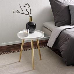 Couchtisch Dana Ø ca.40cm - Weiß/Pinienfarben, MODERN, Holz (40/50cm) - Modern Living