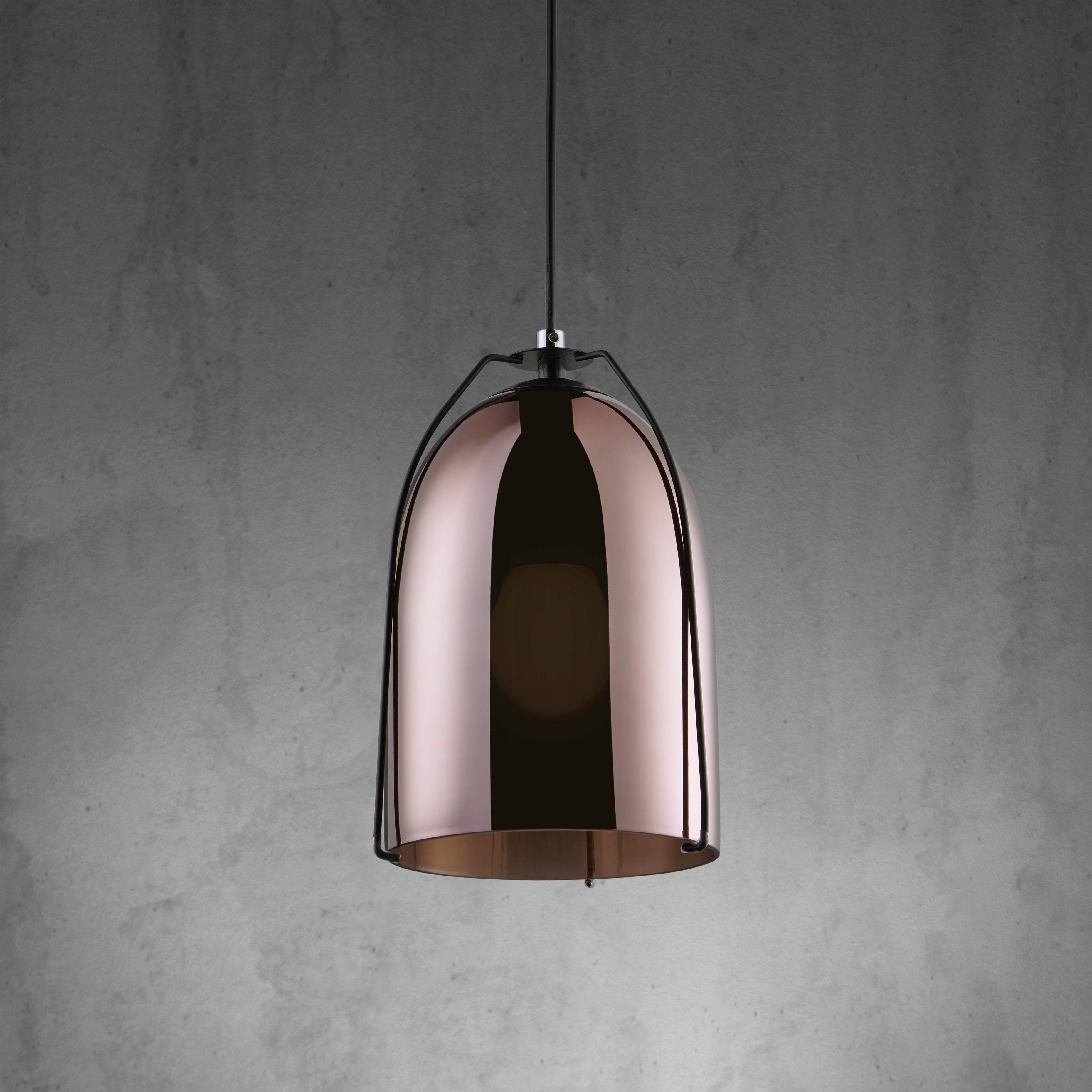 Hängeleuchte Frame - Schwarz/Kupferfarben, MODERN, Glas/Metall (18/130cm) - MÖMAX modern living