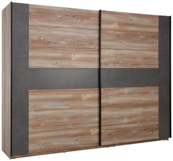 Schwebetürenschrank Kieferfarben/Beton - Dunkelgrau/Schwarz, LIFESTYLE, Holzwerkstoff/Kunststoff (270/210/63cm) - MODERN LIVING