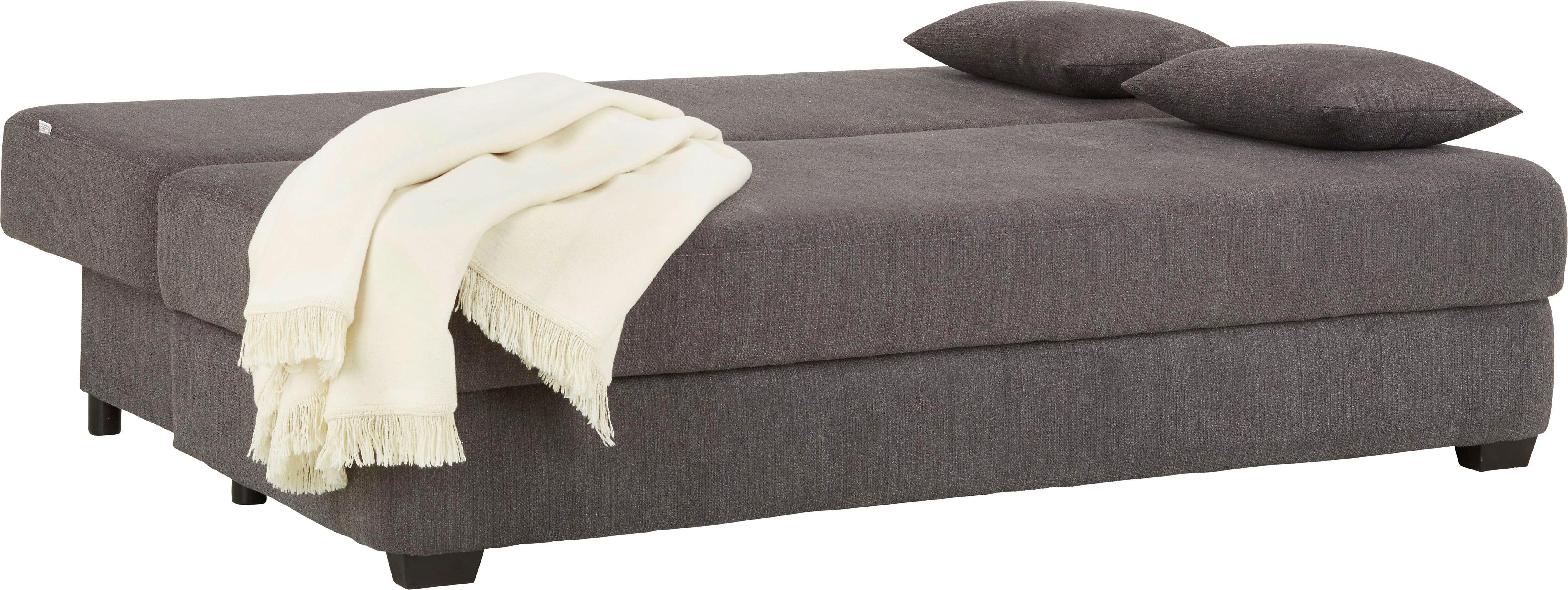 Sofa in Grau mit Kissen - Dunkelbraun/Grau, MODERN, Textil (195/75/100cm) - MODERN LIVING