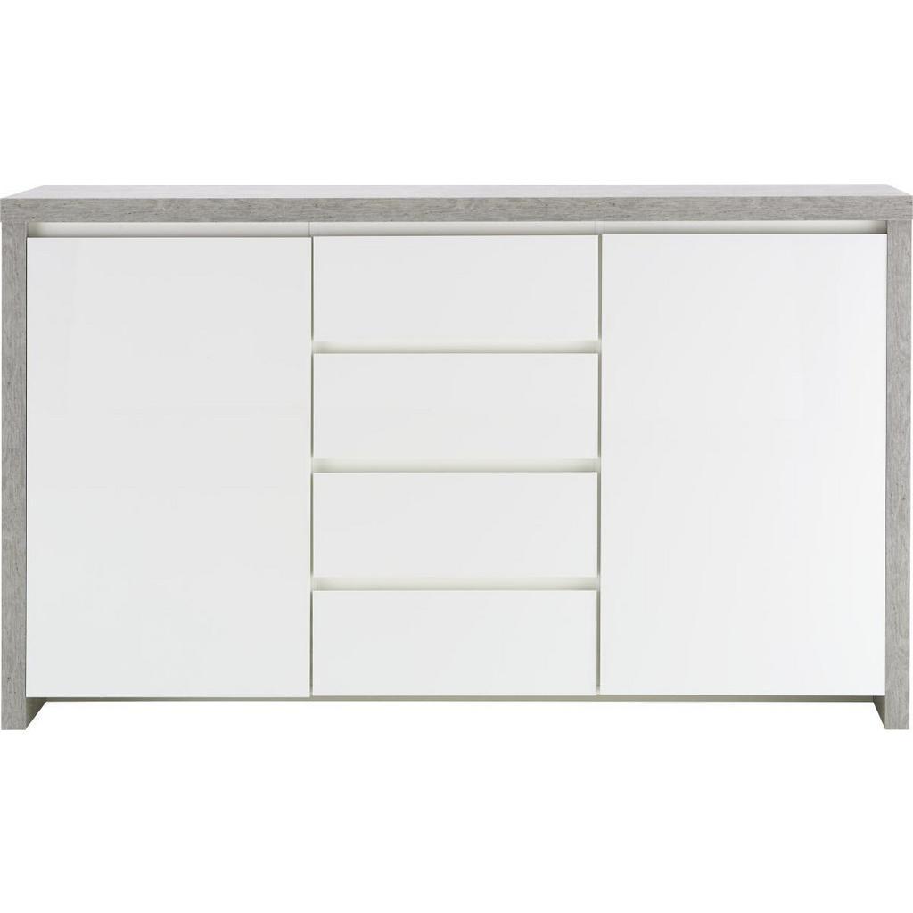 Sideboard Weiß Hochglanz/Betonoptik