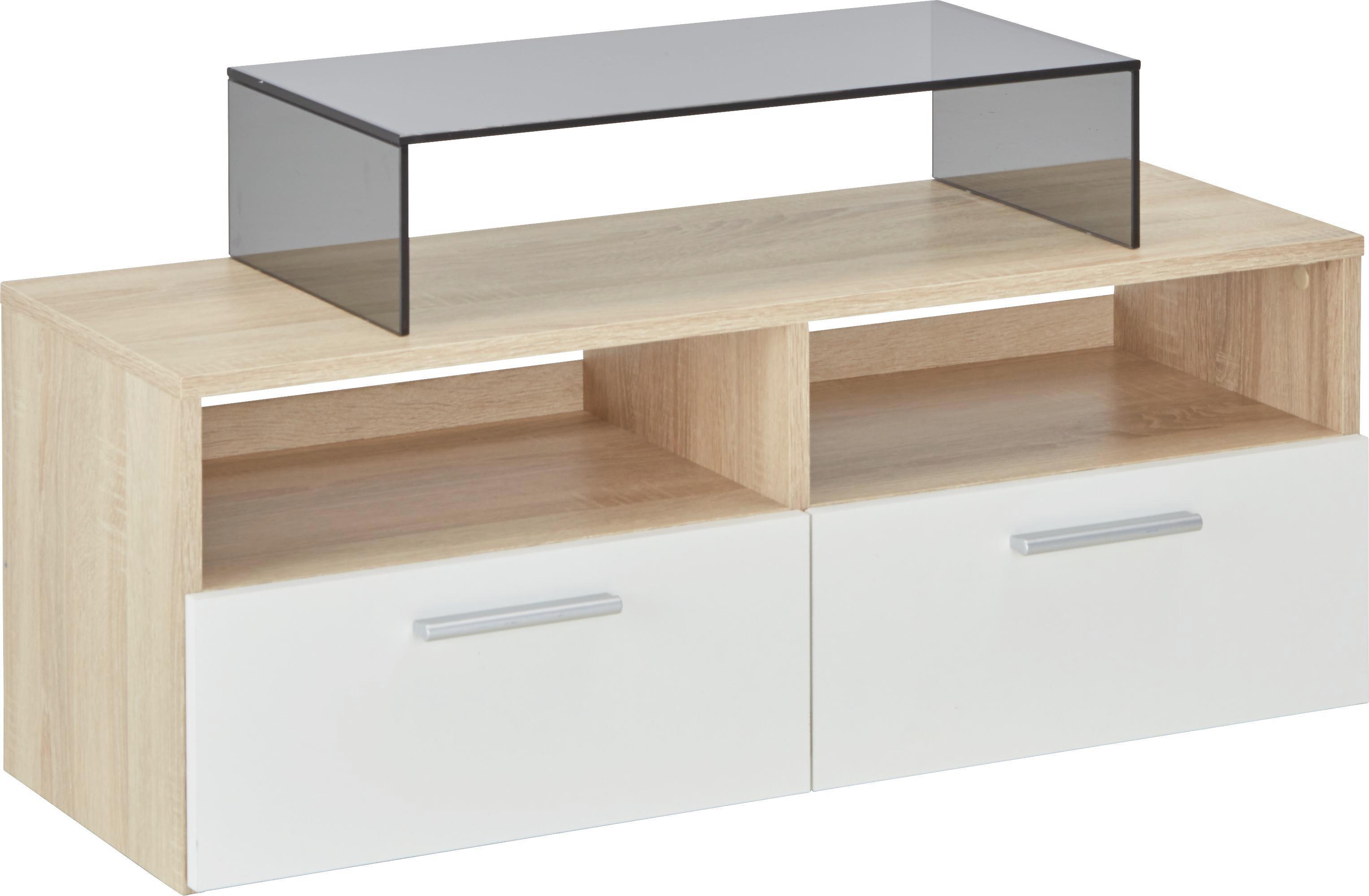 Lowboard in Sonoma Eiche/Weiß - Eichefarben/Silberfarben, MODERN, Holzwerkstoff/Kunststoff (95/35/36cm) - MÖMAX modern living