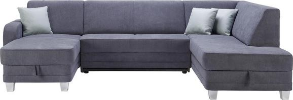 Wohnlandschaft Grau - Chromfarben/Dunkelgrau, MODERN, Kunststoff/Textil (165/296/198cm) - Modern Living
