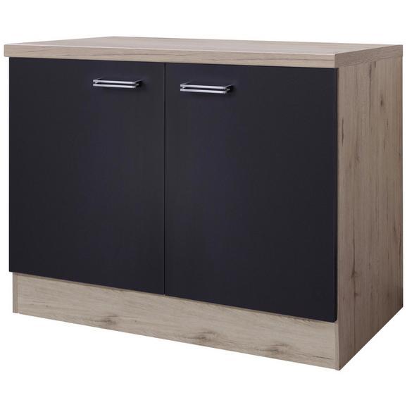 Spülenunterschrank Anthrazit/Eiche - Edelstahlfarben/Eichefarben, MODERN, Holzwerkstoff/Metall (100/86/60cm)