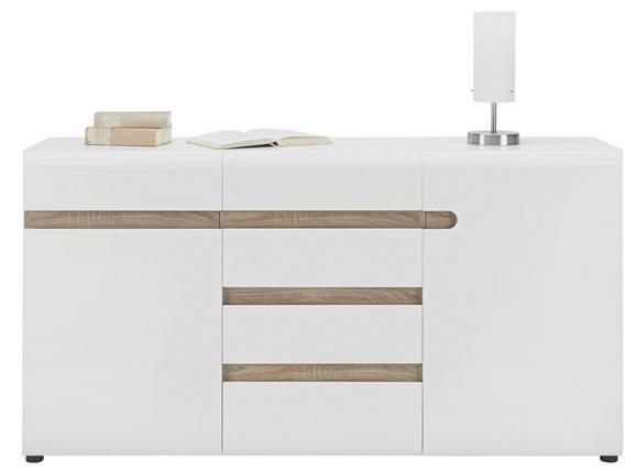 Sideboard Weiß Hochglanz/Eichefarben - MODERN, Holzwerkstoff/Kunststoff (164/87/42cm) - Mömax modern living