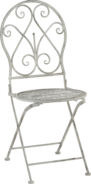 Gartenstuhl Francine - Weiß/Grau, ROMANTIK / LANDHAUS, Metall (40/92/40cm) - MODERN LIVING