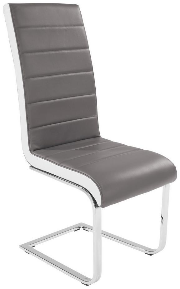 Szánkótalpas Szék Alex - fehér/szürke, konvencionális, textil/fém (43/103/55cm)