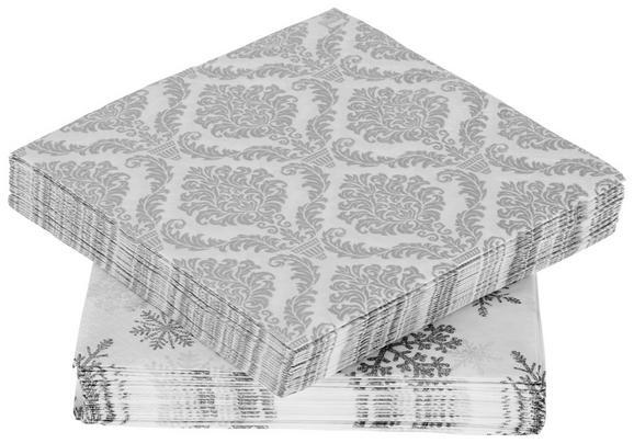 Serviette Lia Weiß/silber - Silberfarben/Weiß, Papier (33/33cm)