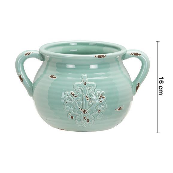 Dekokrug Euphoria Antik aus Dolomit - Grün, ROMANTIK / LANDHAUS, Keramik (27,5/21/16cm) - Bessagi Home