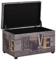 Sitzbox Schriftzug - Dunkelbraun/Multicolor, MODERN, Textil/Weitere Naturmaterialien (65/42/40cm)