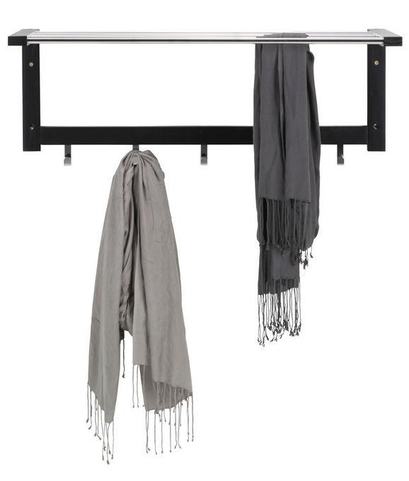 Wandgarderobe Schwarz - Chromfarben/Schwarz, MODERN, Holz/Metall (80/30/32cm) - Mömax modern living