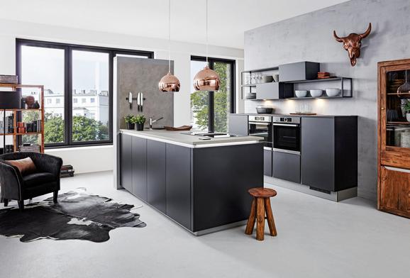 Einbauküche Nolte Feel Schwarz - Schwarz, Holzwerkstoff (249/245,2cm) - Nolte Küchen