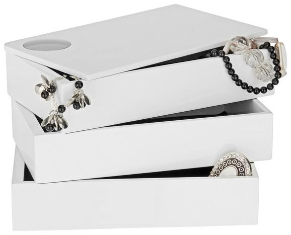 Schmuckbox Joris Weiß - Weiß, MODERN, Holzwerkstoff (19,1/12,9/11,8cm)