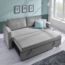 Sofa Joe mit Schlaffunktion inkl. Rückenkissen - Chromfarben/Hellgrau, MODERN, Holz/Textil (204/93/162/83cm) - Mömax modern living