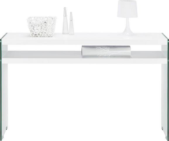 Konsole in Weiß aus Metall/Glas/holz - Weiß, Glas/Holzwerkstoff (120/75/35cm)