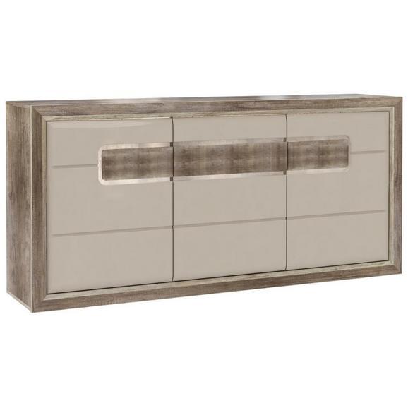 Kredenac Tiziano - siva/boje hrasta, Modern, staklo/drvni materijal (193,8/91,4/43,5cm) - Mömax modern living