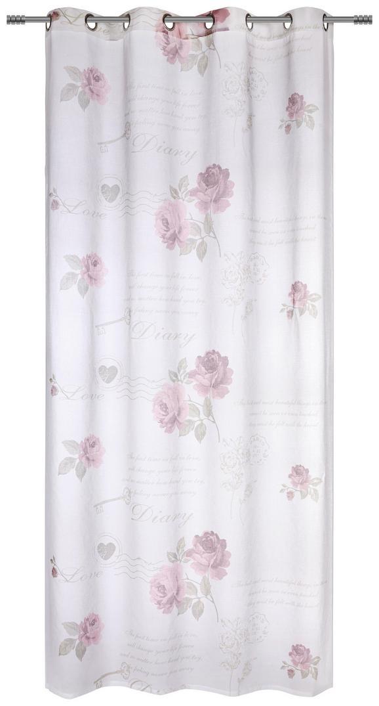 Ösenvorhang Diary Rose ca. 140x245cm - Weiß, ROMANTIK / LANDHAUS, Textil (140/245cm) - Mömax modern living