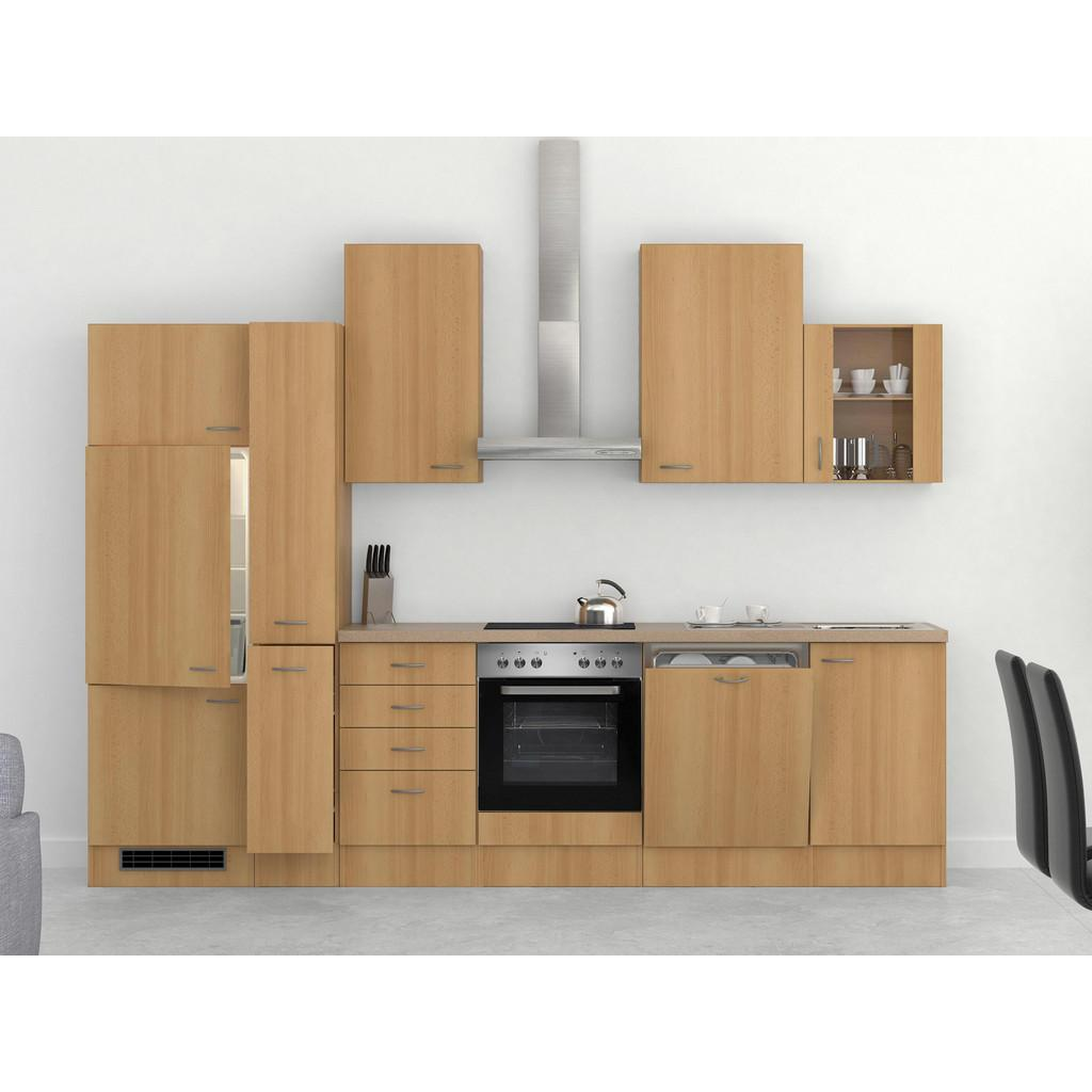 Küchenblock in Buche/Creme inkl. Geräte und Spüle 'Nano'