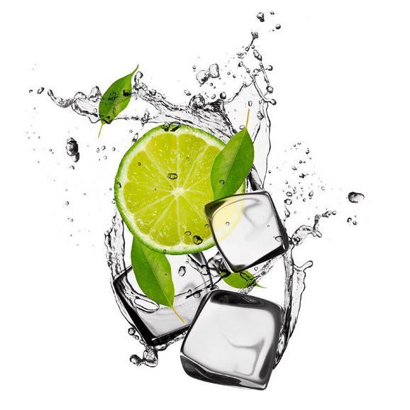 Üvegkép Dancing Lime & Ice Cubes - multicolor, modern, üveg (20/20/1,70cm) - MÖMAX modern living