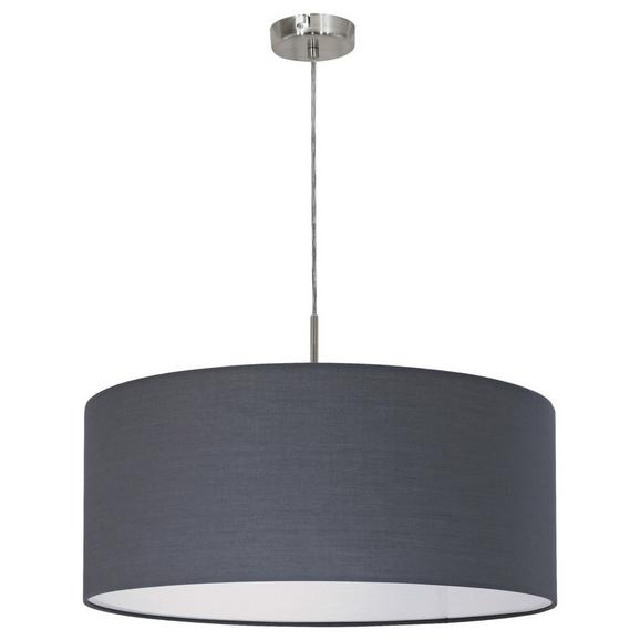 Pendelleuchte Pasteri - Grau/Nickelfarben, MODERN, Textil/Metall (53/110cm)