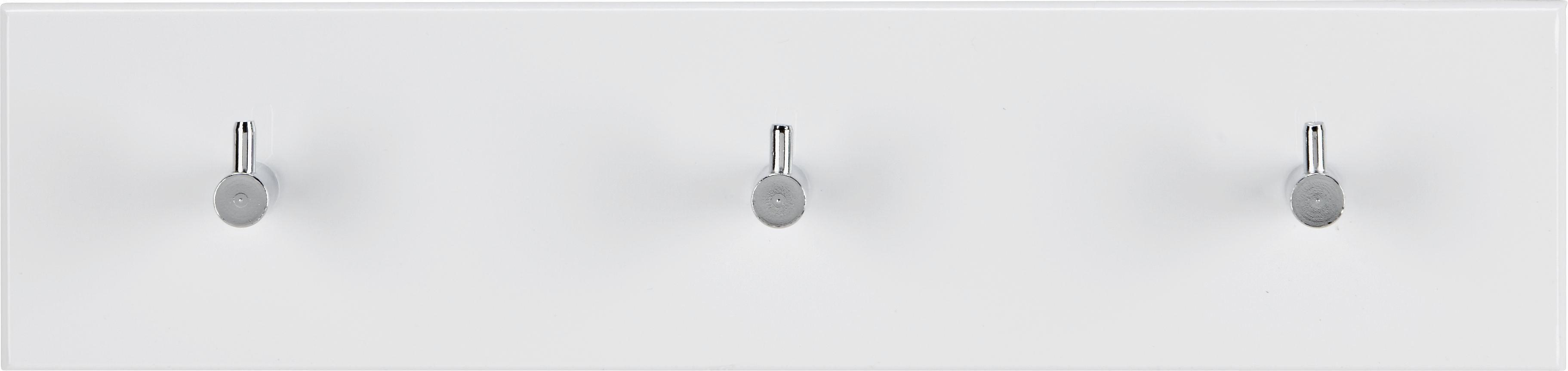 Wandgarderobe in Weiß Hochglanz - Chromfarben/Weiß, Holzwerkstoff/Metall (34/5/8cm) - MÖMAX modern living