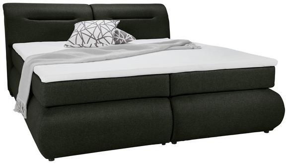 Boxspringbett Olivgrün 140x200cm - Schwarz/Olivgrün, Kunststoff/Textil (240/150/100cm) - Premium Living
