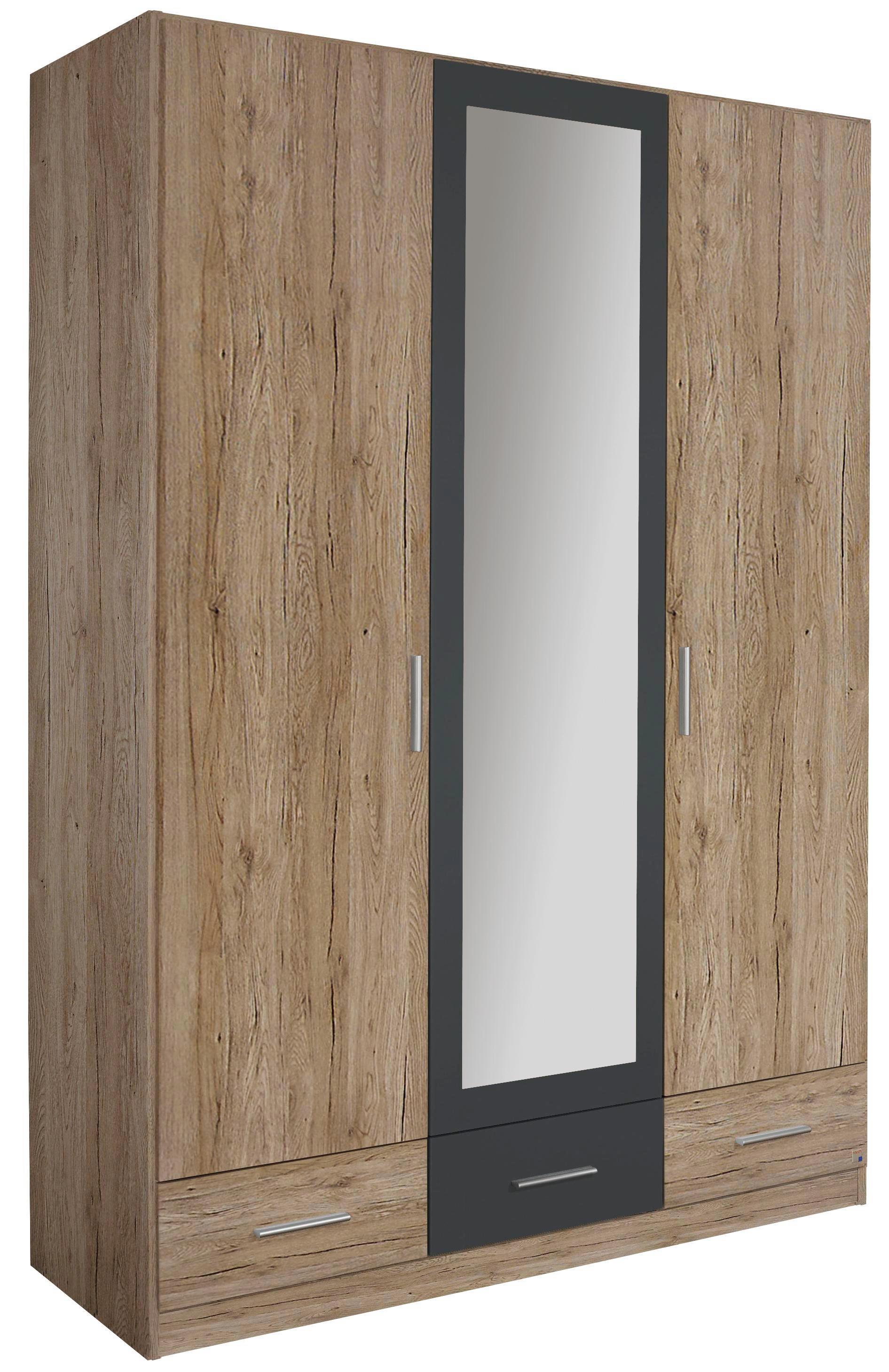 Drehtürenschrank in Eiche/Grau Metallic - Eichefarben/Grau, MODERN, Holz/Holzwerkstoff (136/197/54cm) - MODERN LIVING