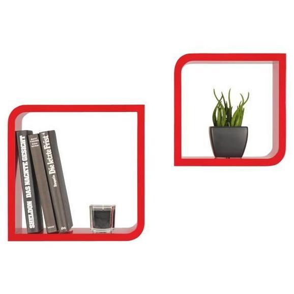 Falipolc 2-részes Szett Fulda - Piros, Faalapú anyag/Műanyag (28/23/28/23/15cm) - Mömax modern living