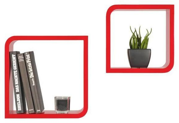 Wandregal Rot - Rot, Holzwerkstoff/Kunststoff (28/23/28/23/15cm) - MÖMAX modern living