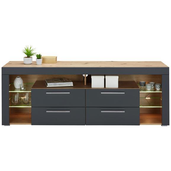 Lowboard in Eichefarben/Grau - Chromfarben/Eichefarben, MODERN, Holzwerkstoff/Kunststoff (179/66/44cm)