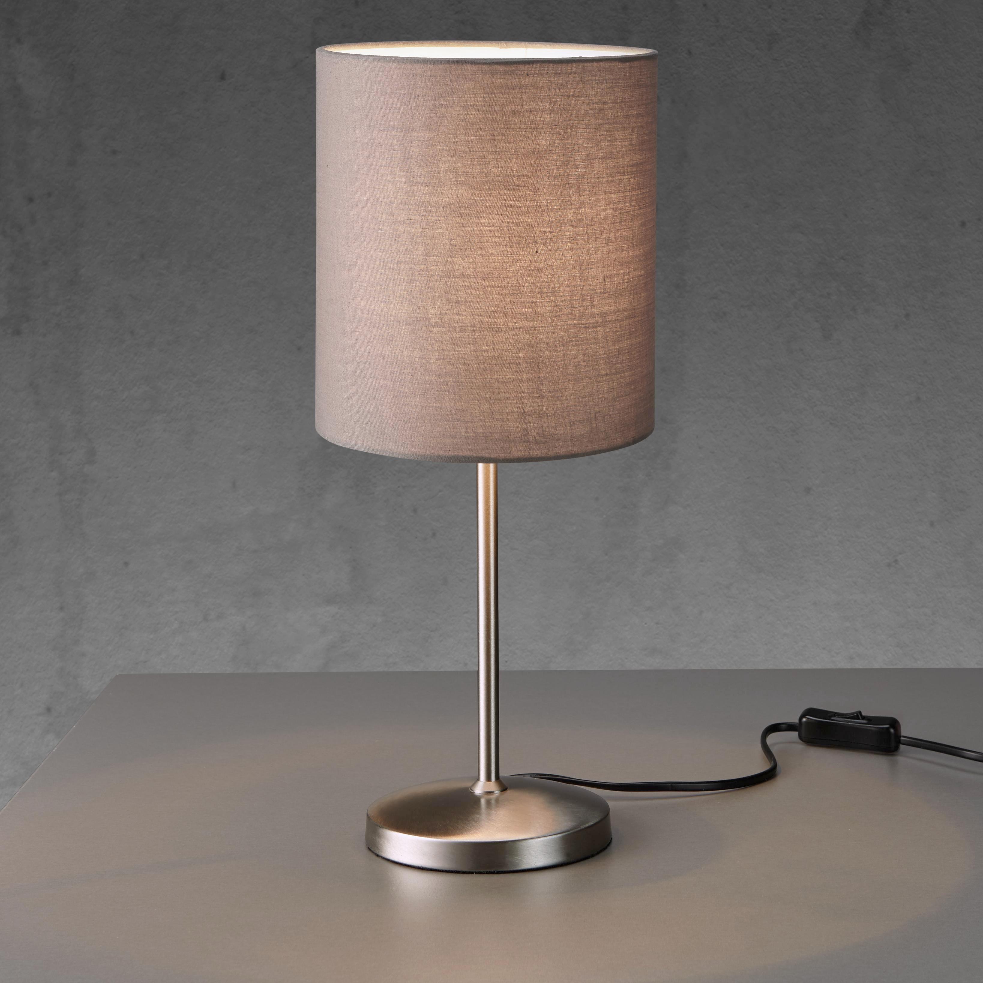 Tischleuchte Maxwell - Grau/Nickelfarben, MODERN, Textil/Metall (18/42cm) - MÖMAX modern living
