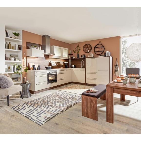 Eckküche Trendlack Nussbaumfarbe/Sahara - Nussbaumfarben/Sahara, Holzwerkstoff (270/305cm) - Nolte Küchen