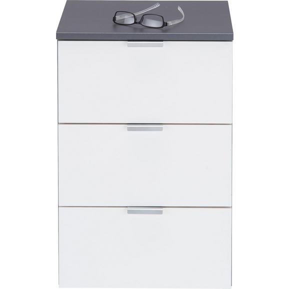 Nachtkästchen in Weiß Hochglanz - Alufarben/Graphitfarben, Holzwerkstoff/Metall (40/61/42cm) - Premium Living