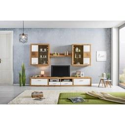 Wohnwand Weiß/Eichefarben   Eichefarben/Silberfarben, MODERN, Glas/Holz (290