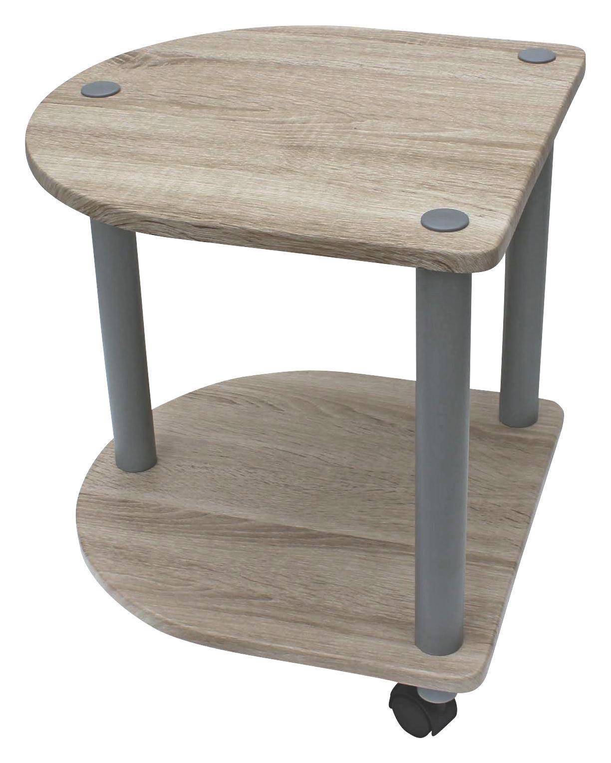 Kisasztal Felix - tölgy színű/szürke, modern, műanyag/fém (40/45/40cm)