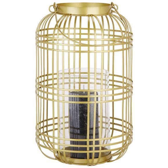 Laterne Diana aus Glas/Eisen - Klar/Goldfarben, Glas/Metall (22,5/36cm) - Mömax modern living