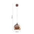 LED-Hängeleuchte max. 10 Watt 'Alex' - Goldfarben/Kupferfarben, MODERN, Kunststoff/Metall (25/25/120cm) - Bessagi Home