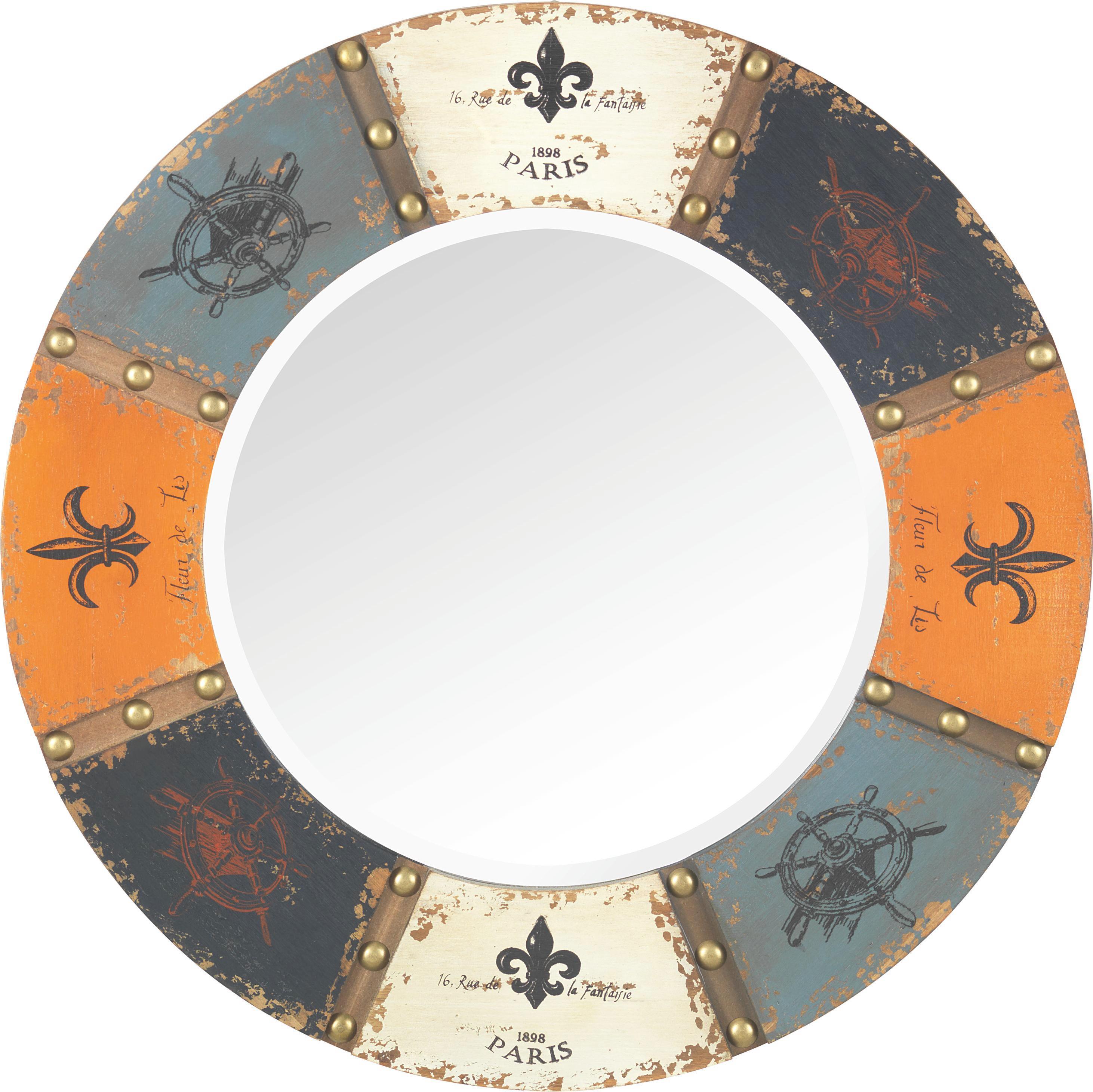 Spiegel London - Multicolor, Glas/Holz (64/64/2,5cm) - PREMIUM LIVING